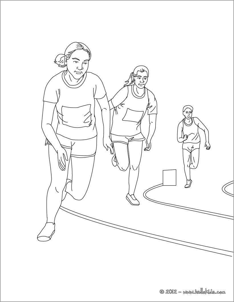 5000m Race athletics Coloring Pages