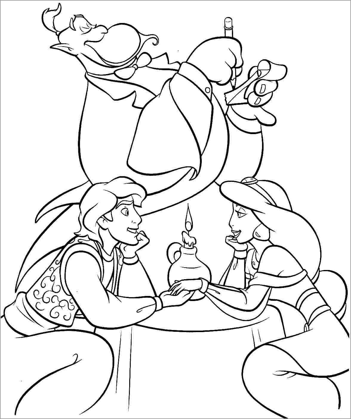 Aladdin, Jasmine and Genie Coloring Page