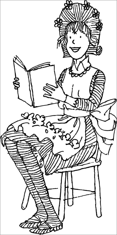 Amelia Bedelia Reading Book Coloring Page