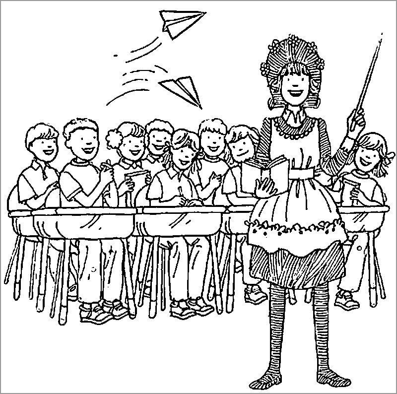 Amelia Bedelia Teacher Coloring Page