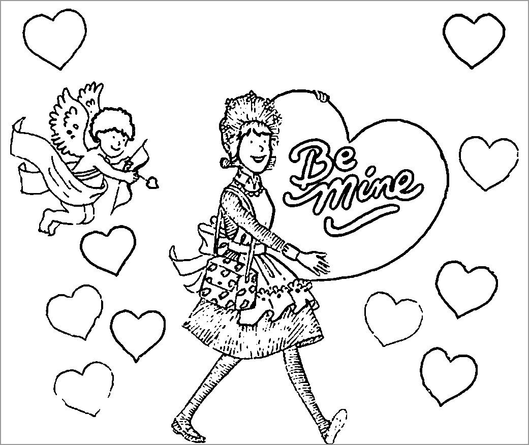 Amelia Bedelia Valentine Coloring Page