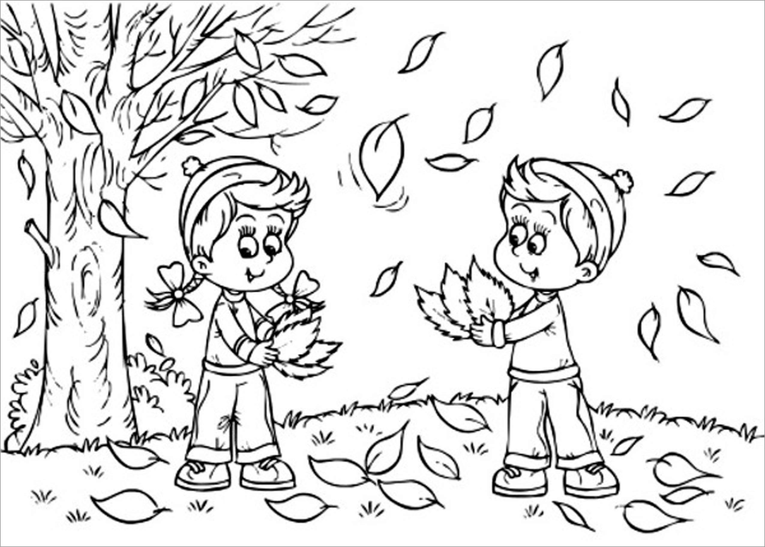 Autumn Coloring Page for Kids