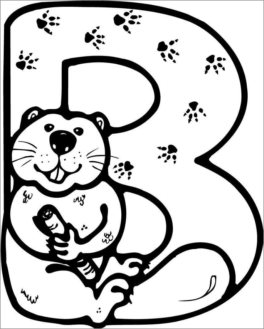 B for Beaver Coloring Page