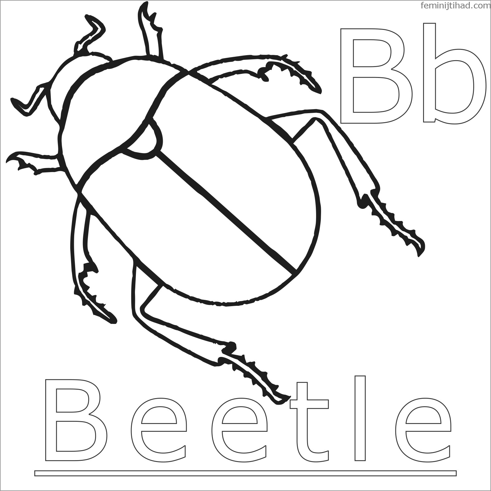 B for Beetle Coloring Page