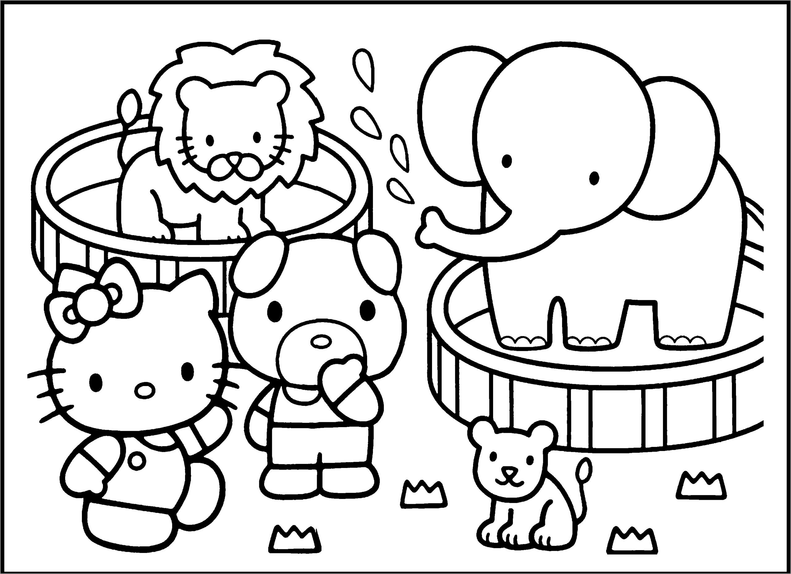 Baby Animals at the Zoo Coloring Page for Preschoolers