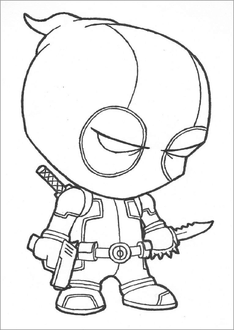 baby deadpool coloring page coloringbay