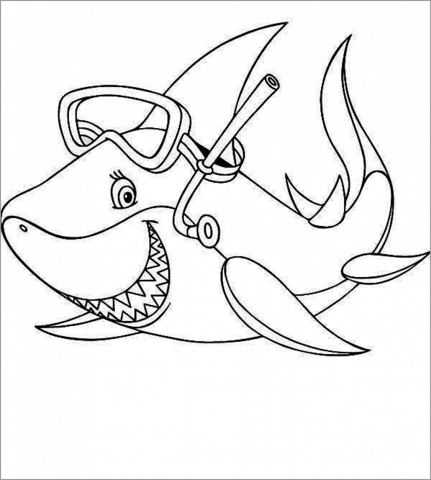 Baby Shark Coloring Page for Kindergarten