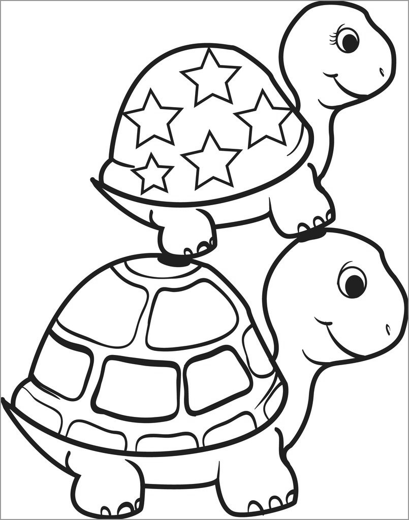 Baby Turtle Coloring Page for Kids
