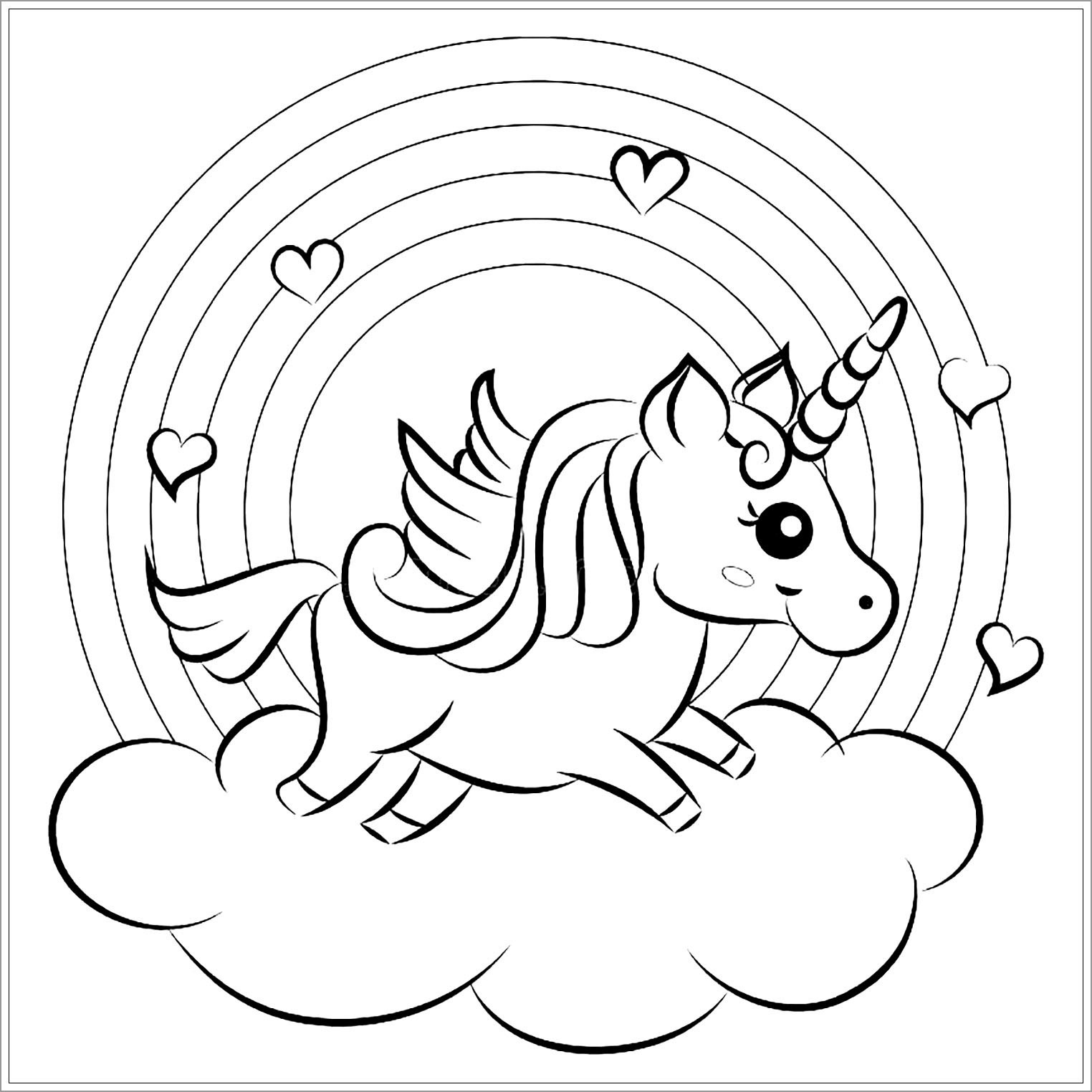 Baby Unicorns Coloring Page for Kids