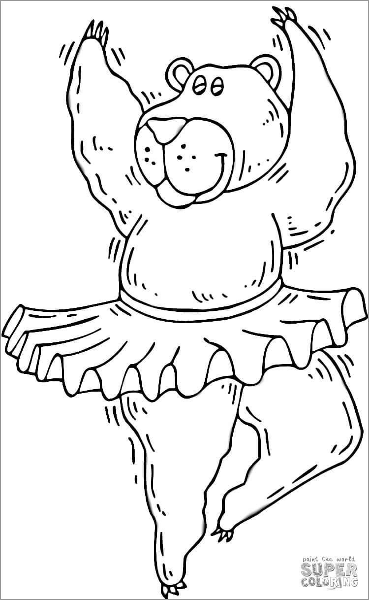 Ballerina Bear Coloring Page