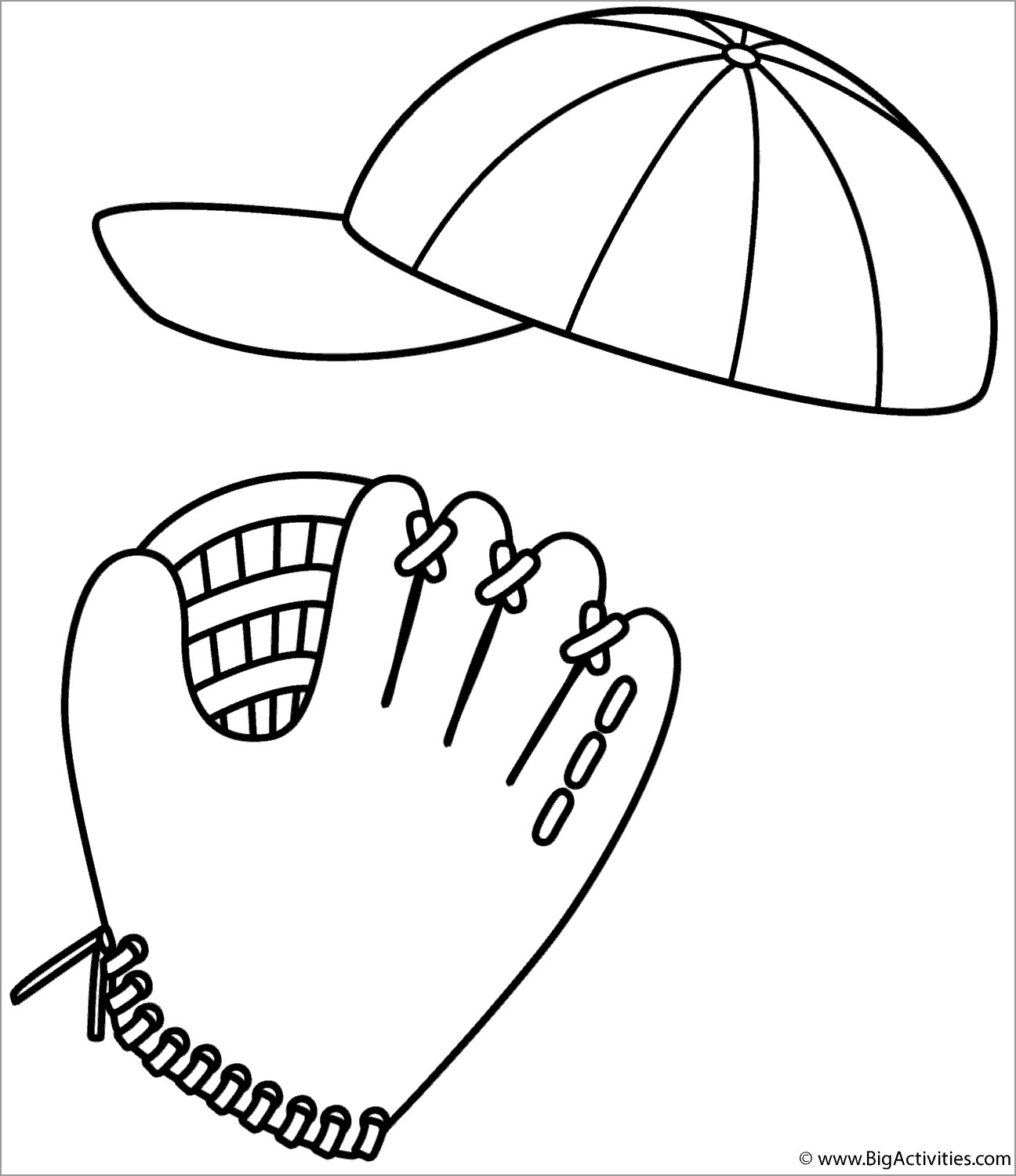 Baseball Cap and Glove Coloring Page