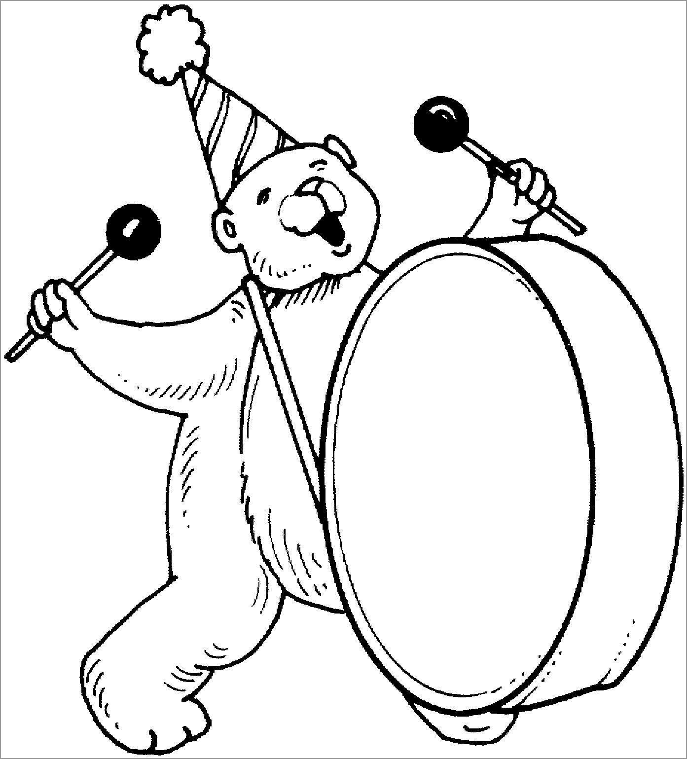 Bear Circus Animal Coloring Page