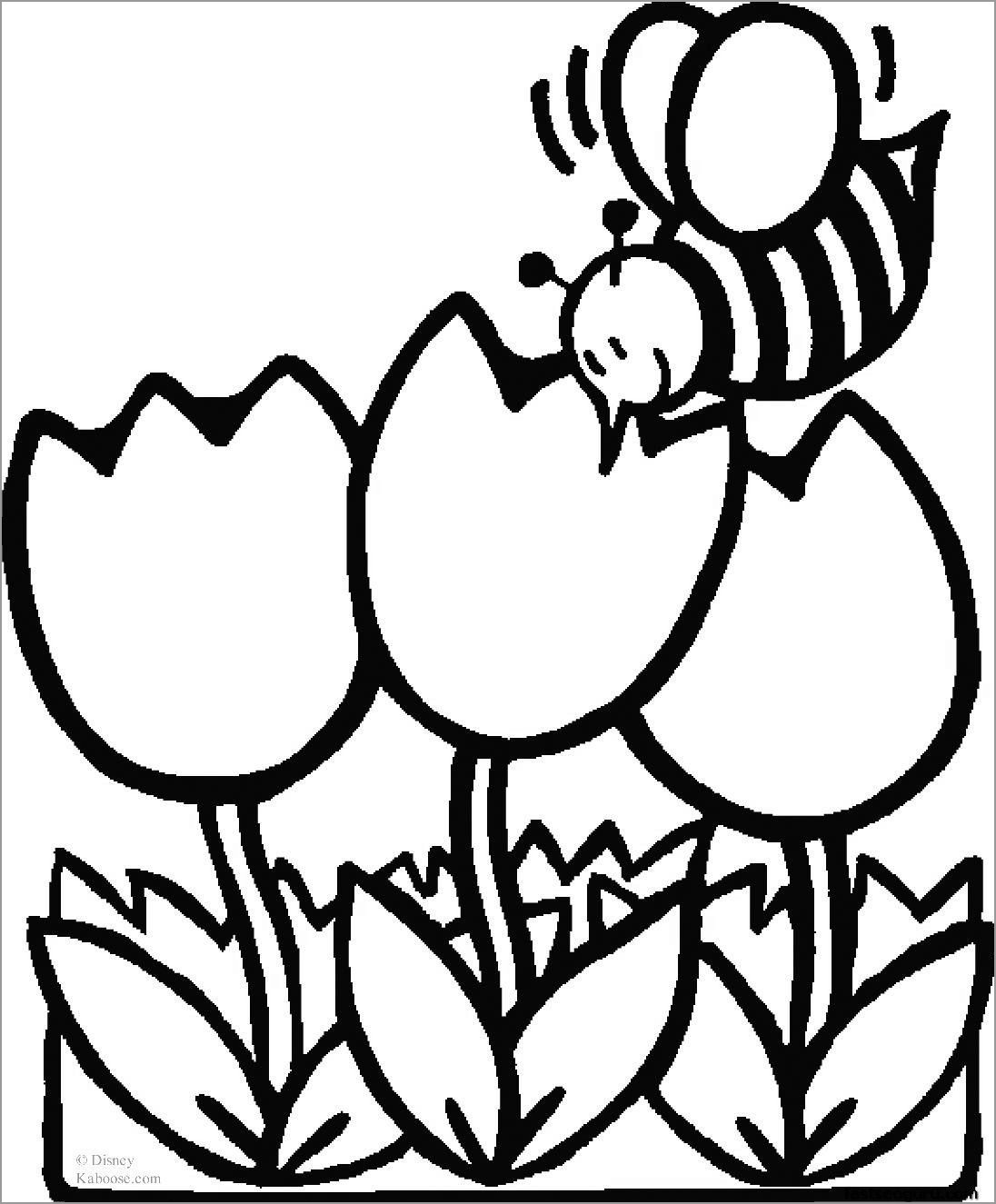 Bee and Flower Coloring Page