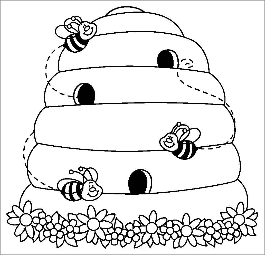 Beehive Coloring Page Coloringbay