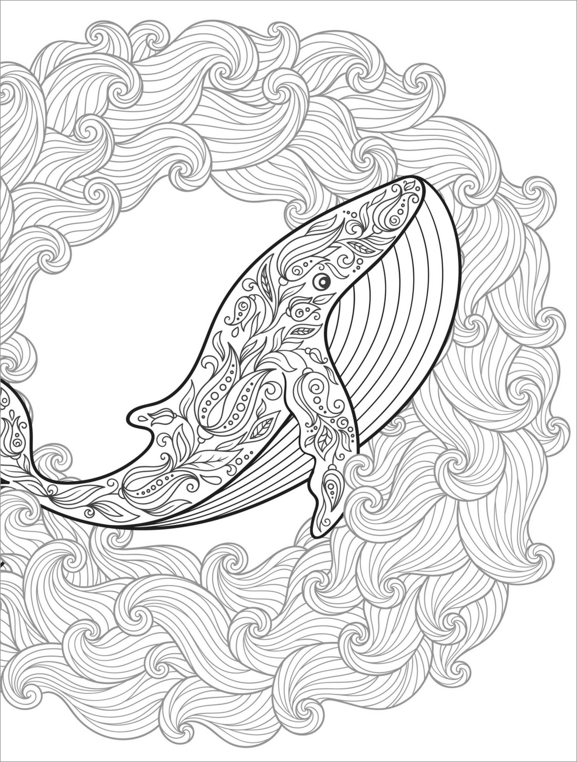 Blue Whale Mandala Coloring Page