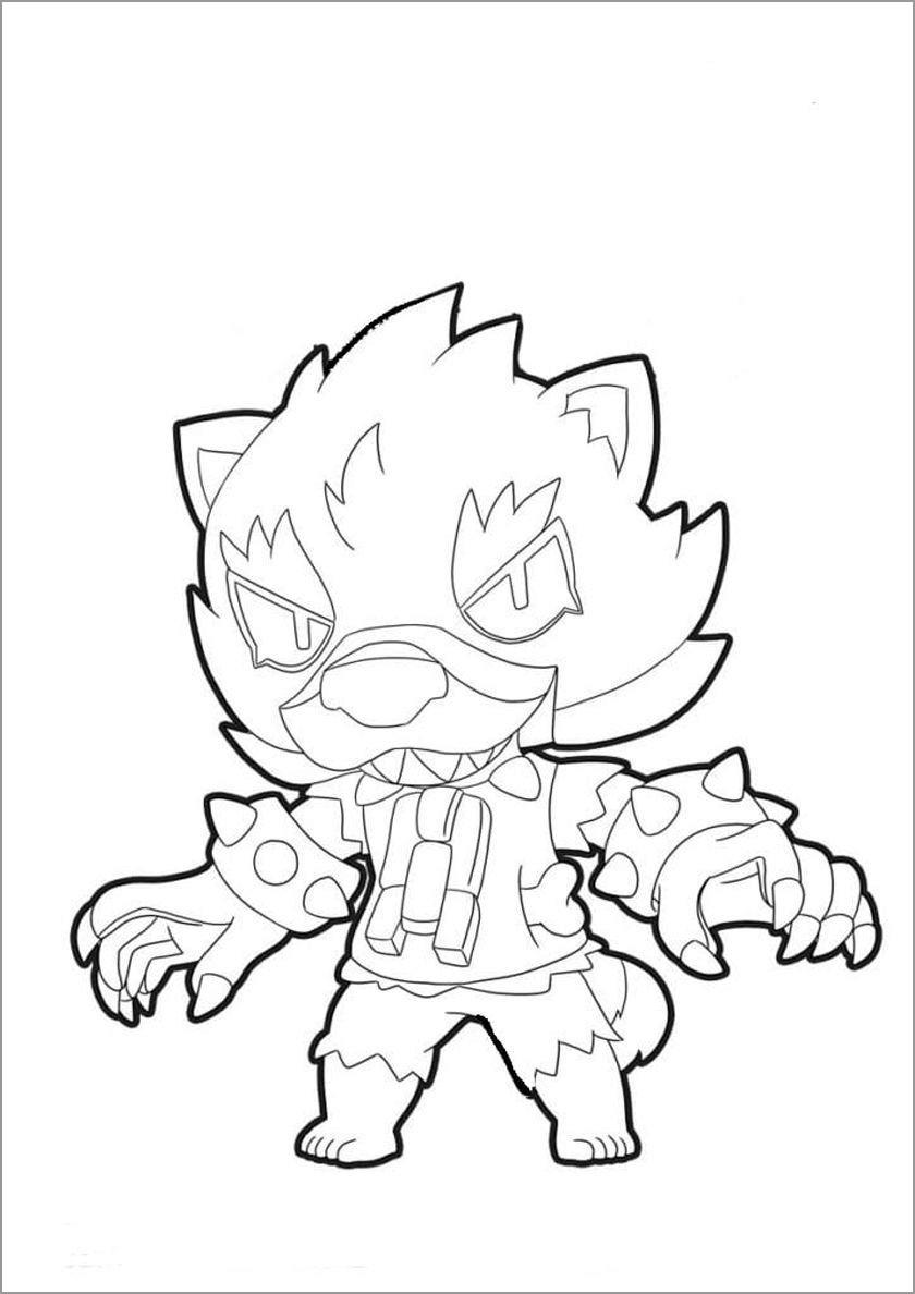 Brawl Stars Coloring Page Werewolf Leon