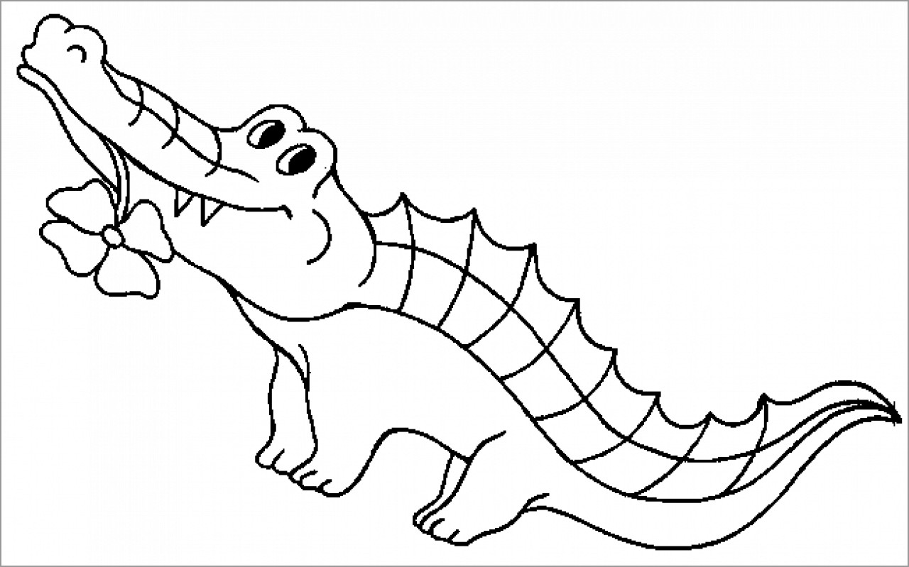 Cartoon Alligator Coloring Page