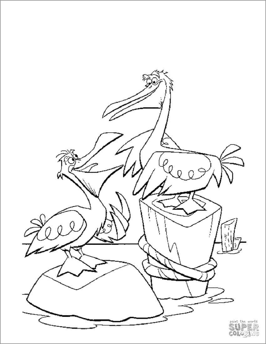 Cartoon Pelicans Coloring Page