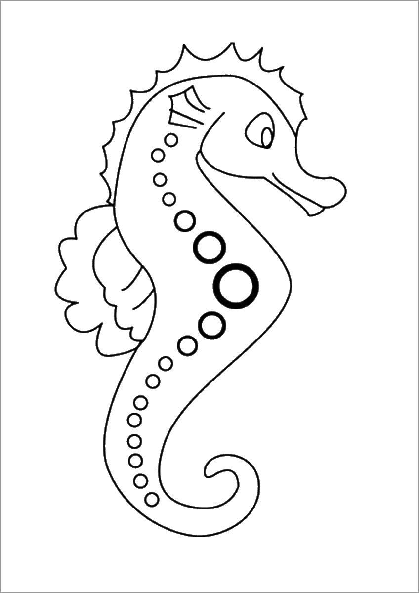 Cartoon Seahorse Coloring Page