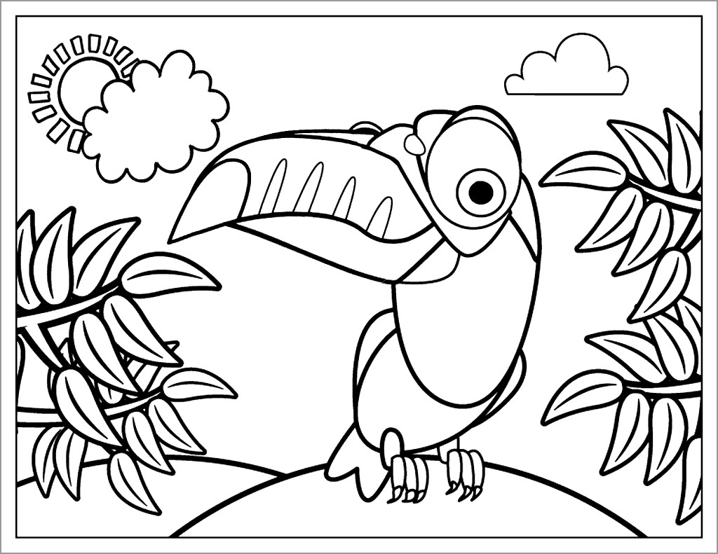 Cartoon toucan Coloring Page for Kids