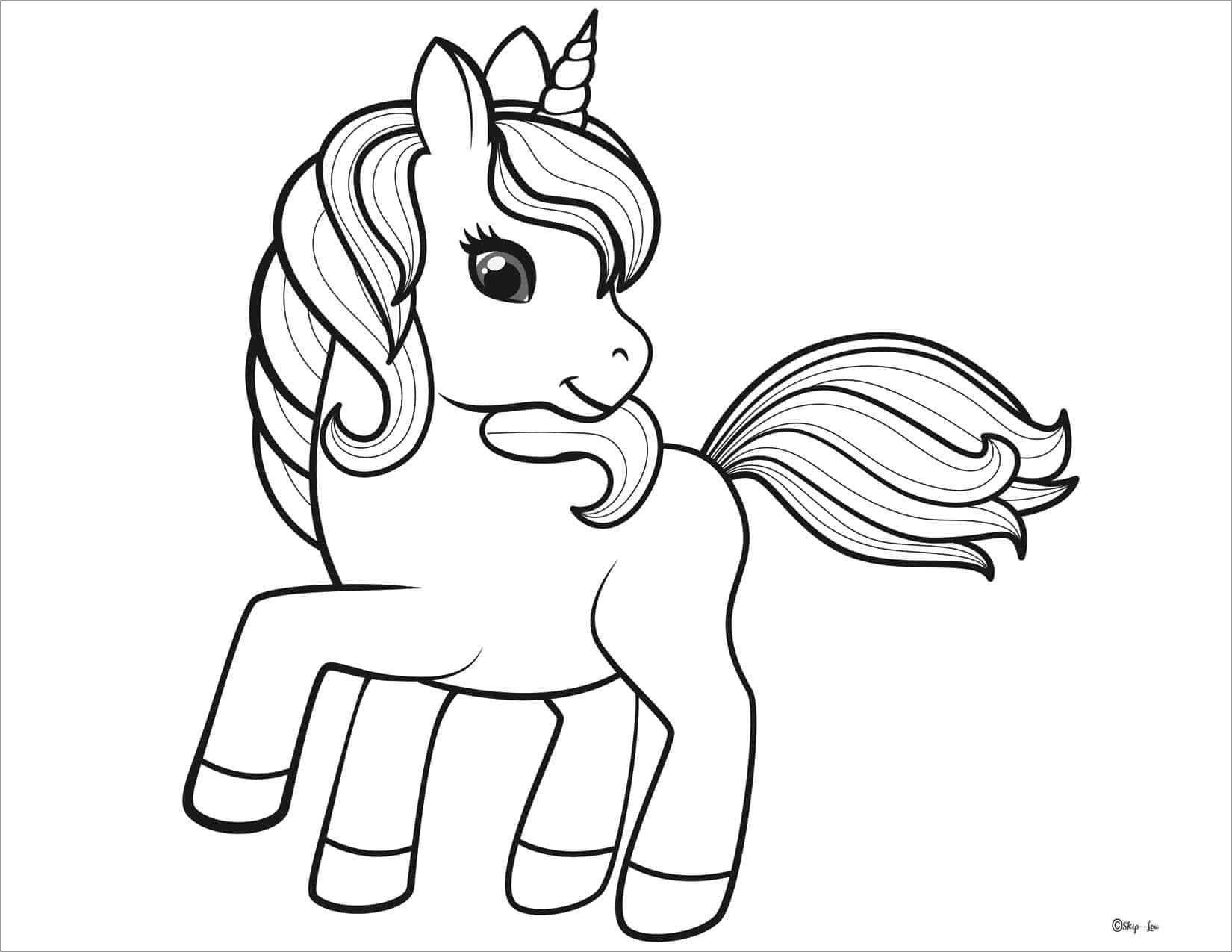 Cartoon Unicorn Coloring Page for Kids