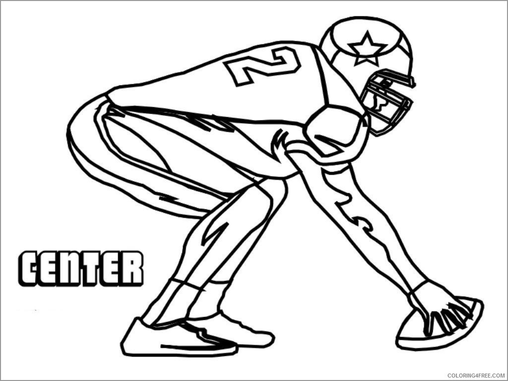 Center American Football Coloring Page