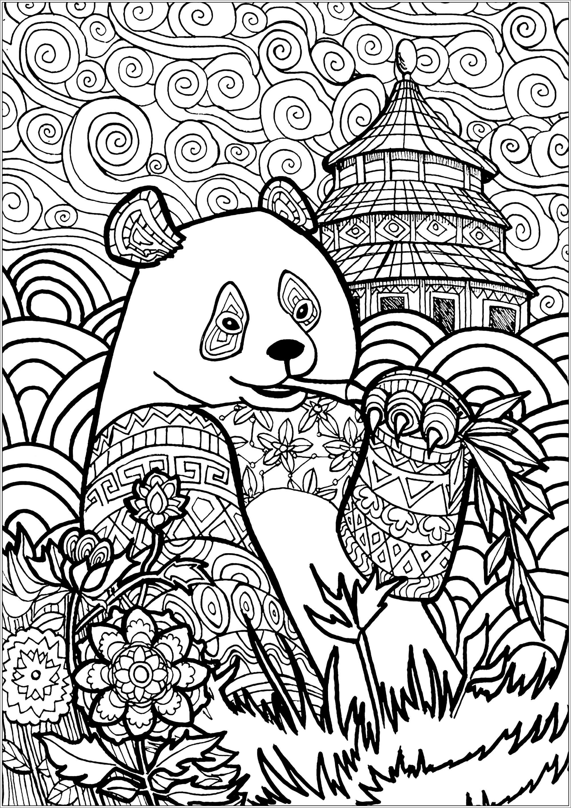 Chinese Panda Coloring Page