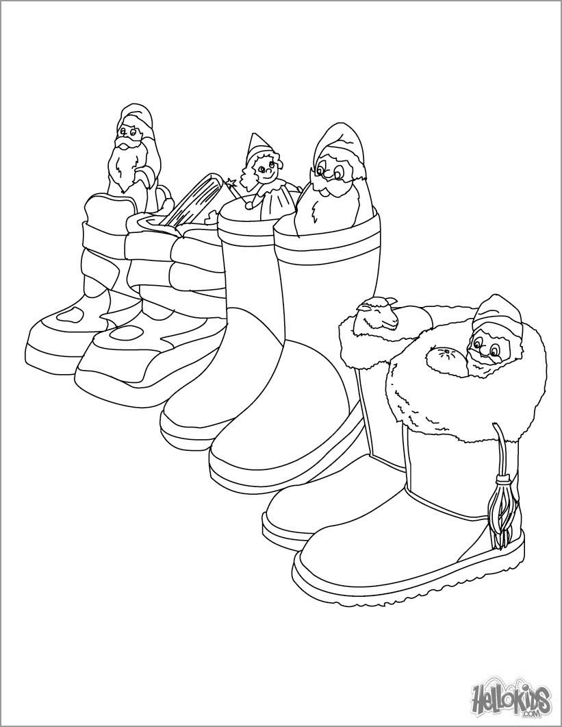 Christmas Boots Drawing.Christmas Boots Coloring Pages Coloringbay