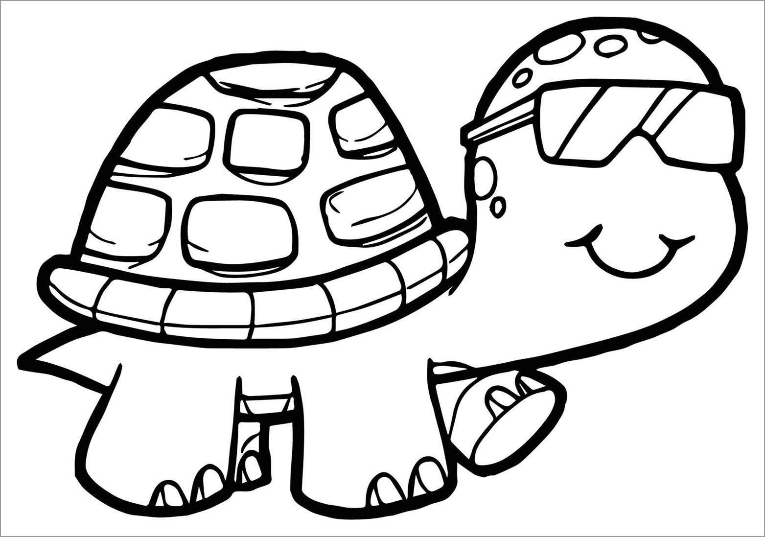 Cool Turtle Coloring Page for Kids