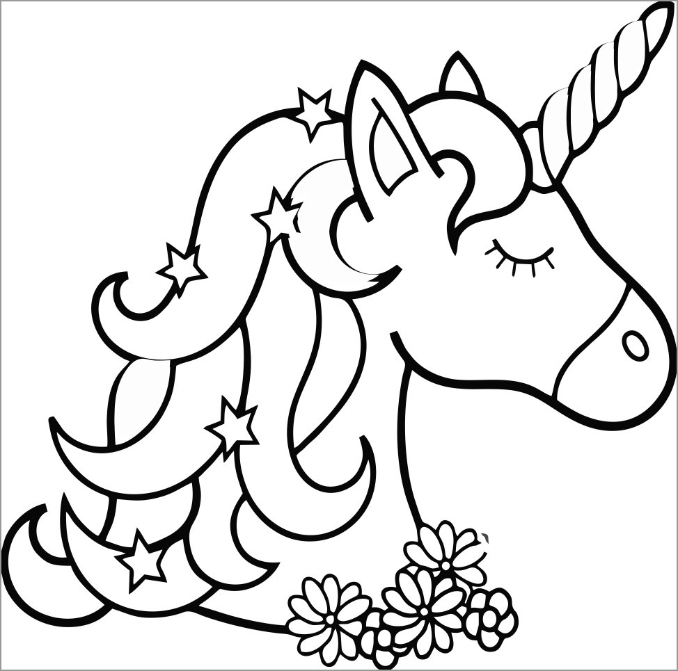 Cool Unicorn Coloring Page
