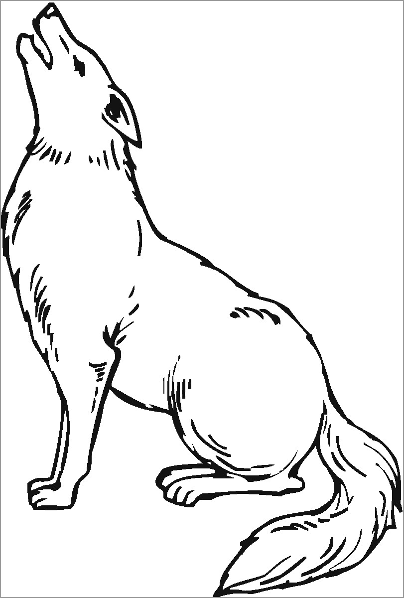 Coyote Howling Coloring Page