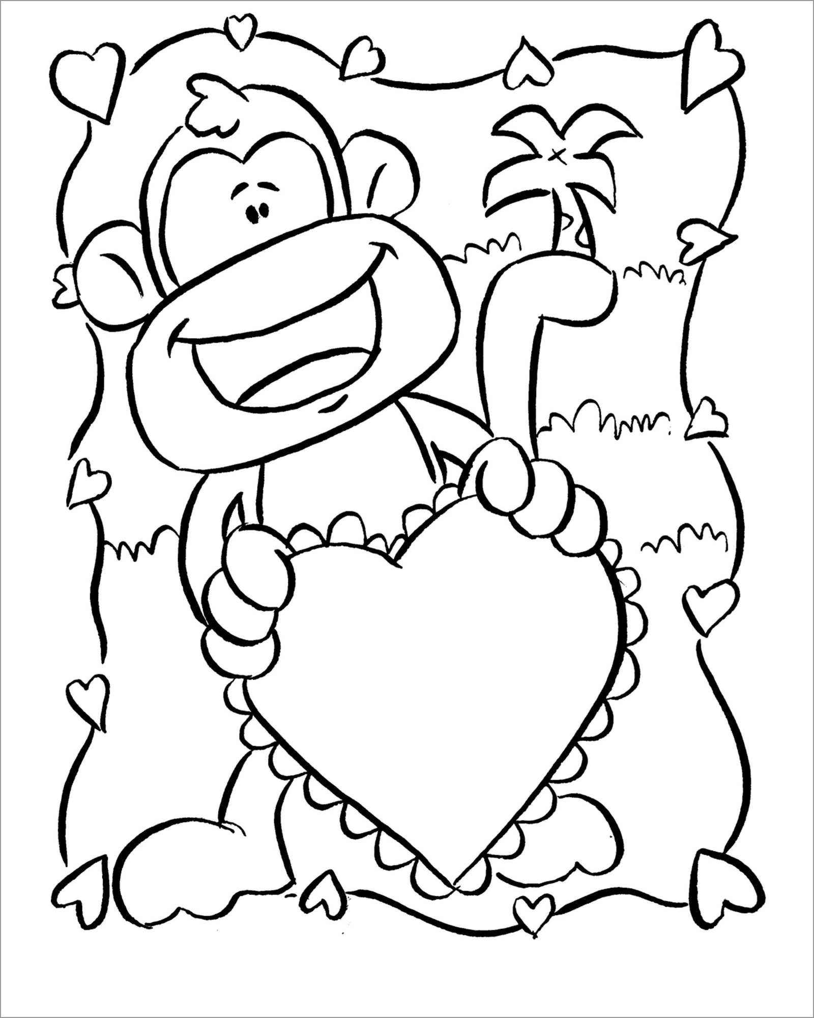 Cute Baby Monkeys Coloring Page