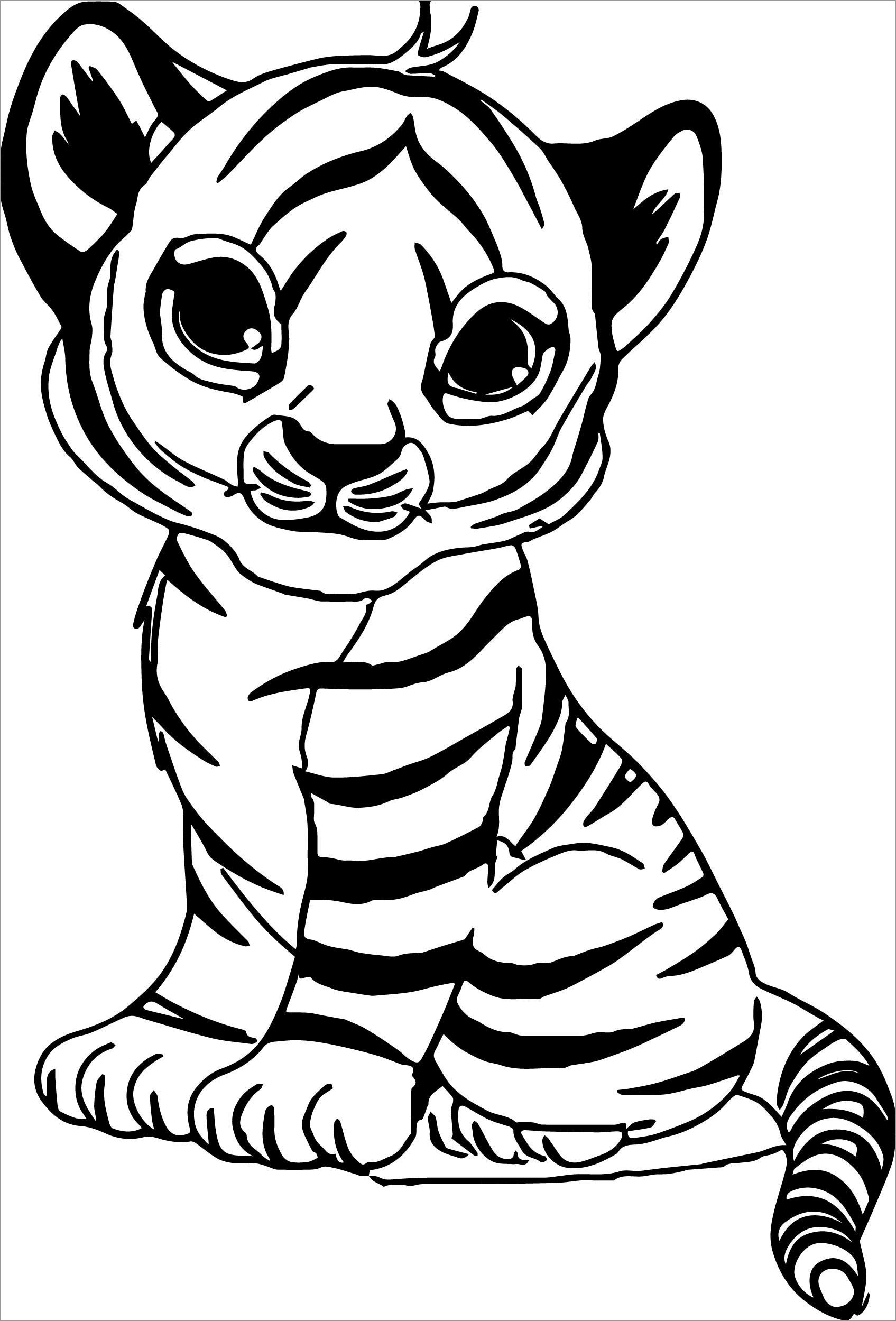 Cute Baby Tiger Coloring Page for Kids
