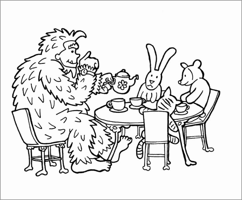Cute Bigfoot Coloring Page