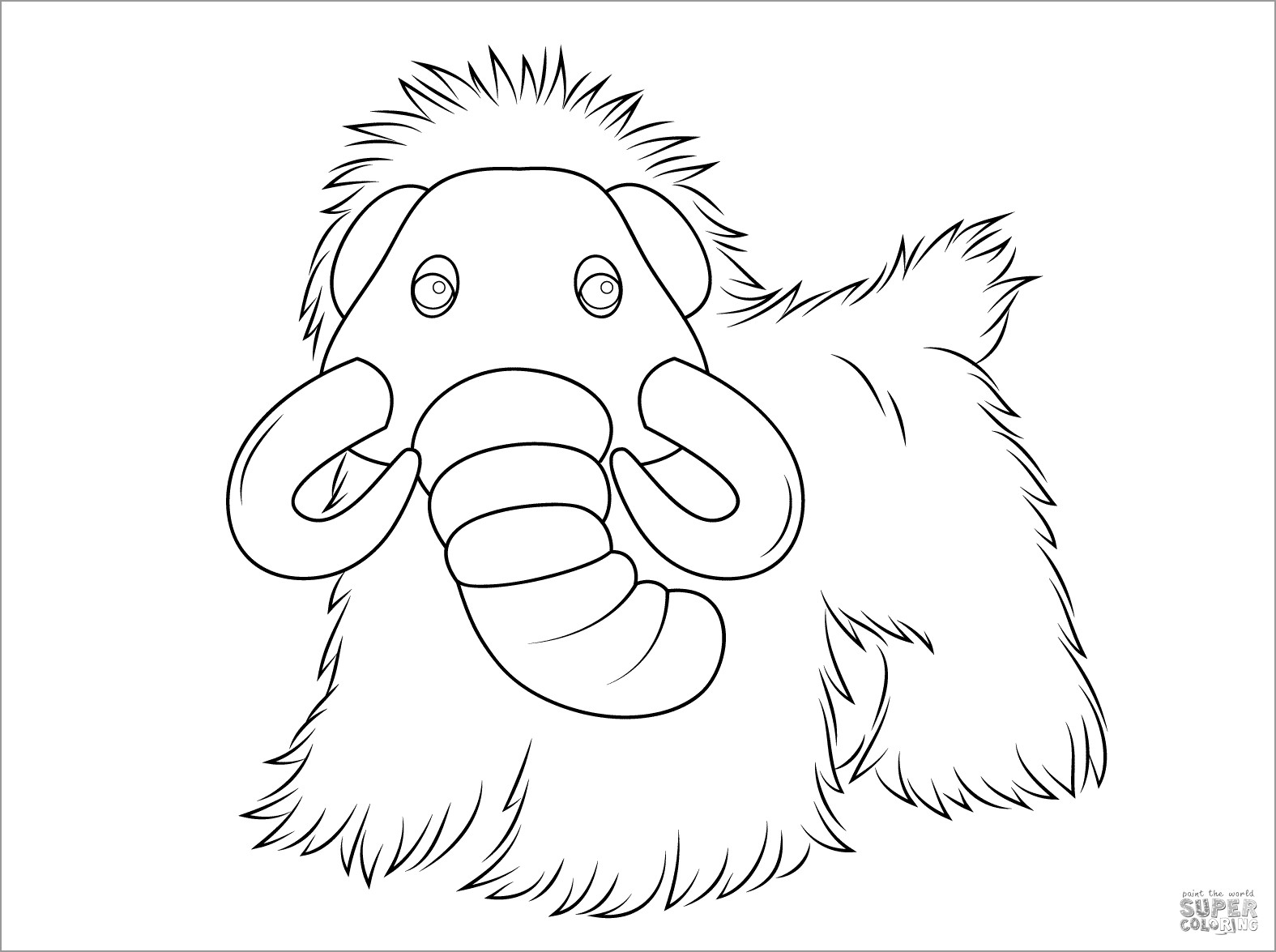 Cute Mammoth Coloring Page