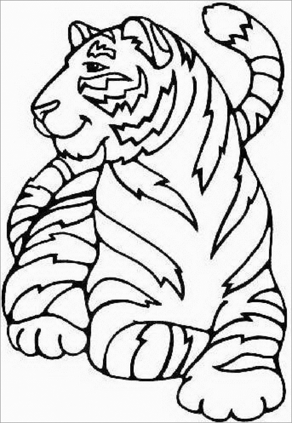 Cute Tiger Coloring Page