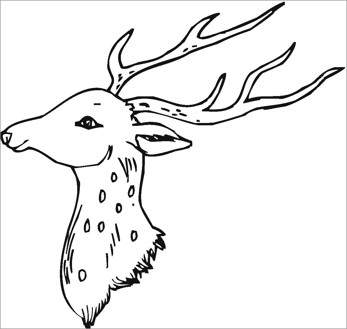 Deer Head Coloring Page