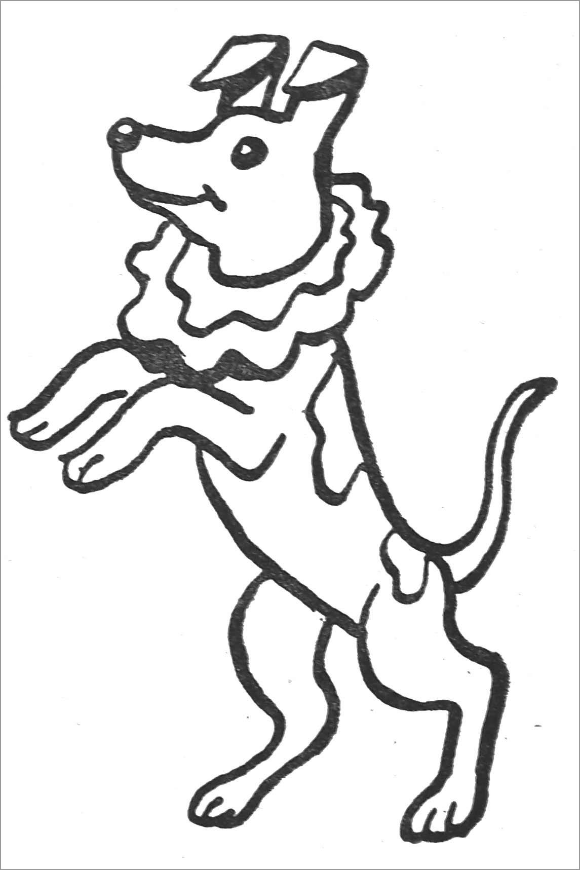 Dog Circus Animal Coloring Page