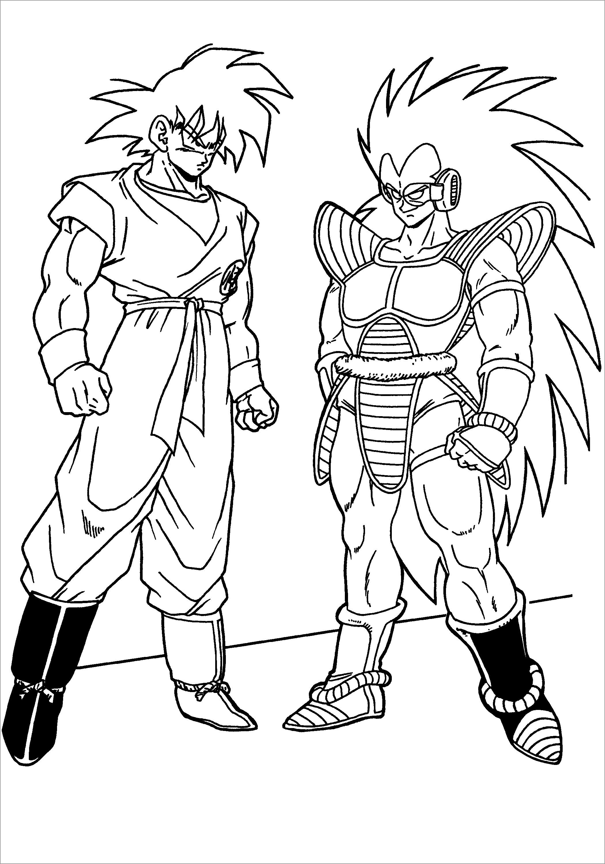 Dragon Ball Z Coloring Pages Goku and Vegeta