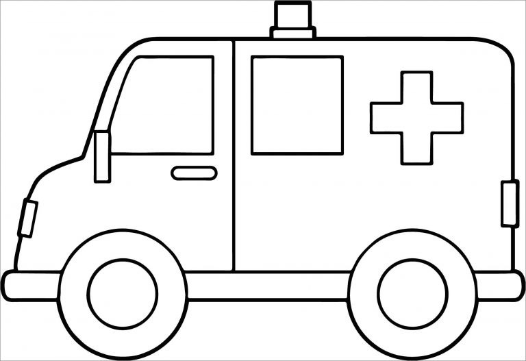 Easy Ambulance Coloring Pages to Print - ColoringBay