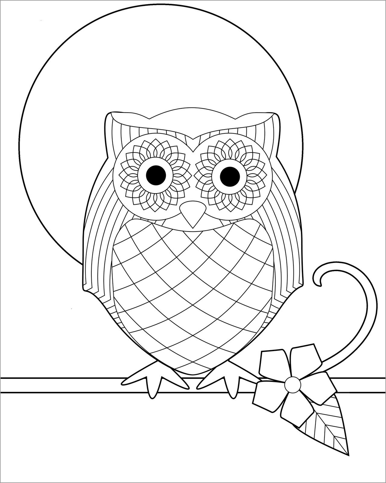 Easy Cartoon Owl Coloring Page