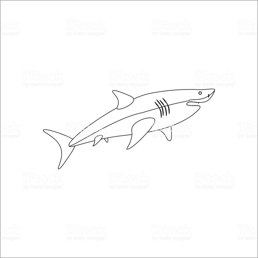 Easy Shark Coloring Page for Kids