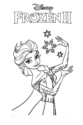 Frozen II - Elsa Frozen Coloring Page