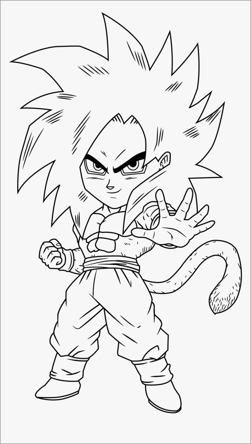 Goku Chibi Anime Coloring Page
