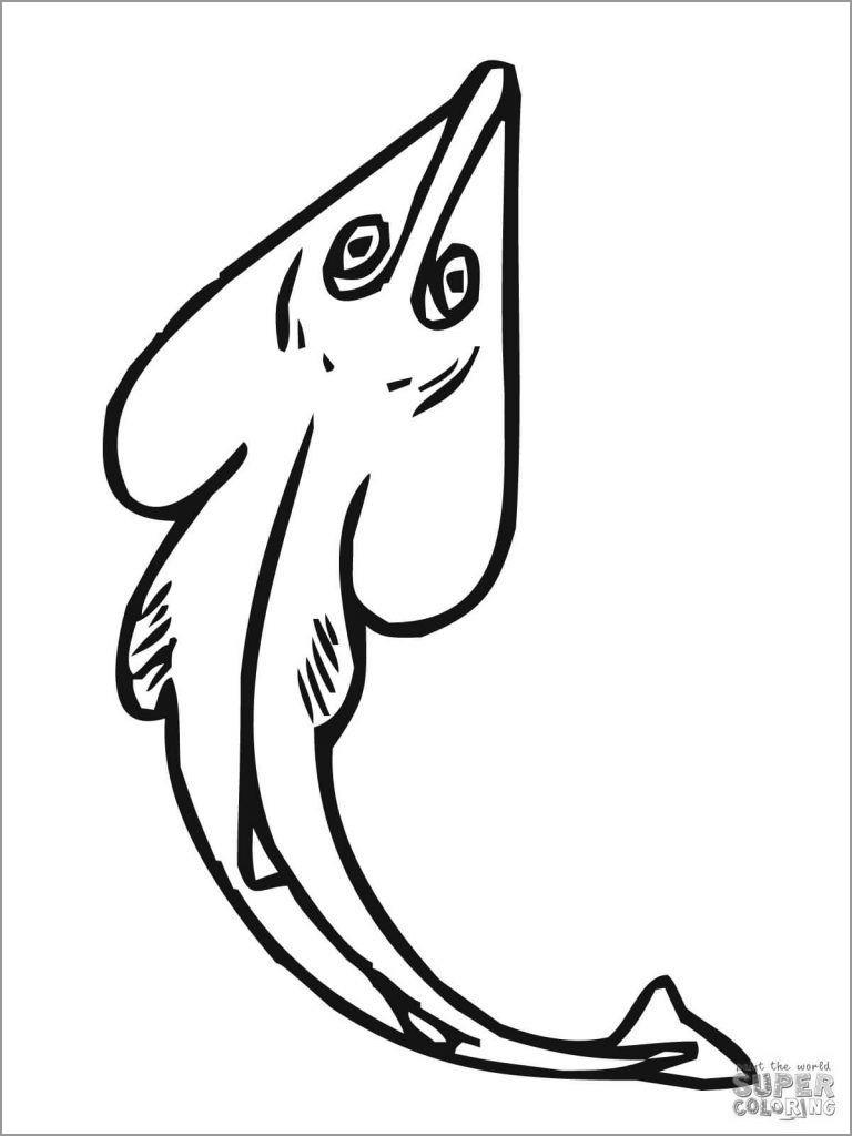 Guitarfish Ray Coloring Page