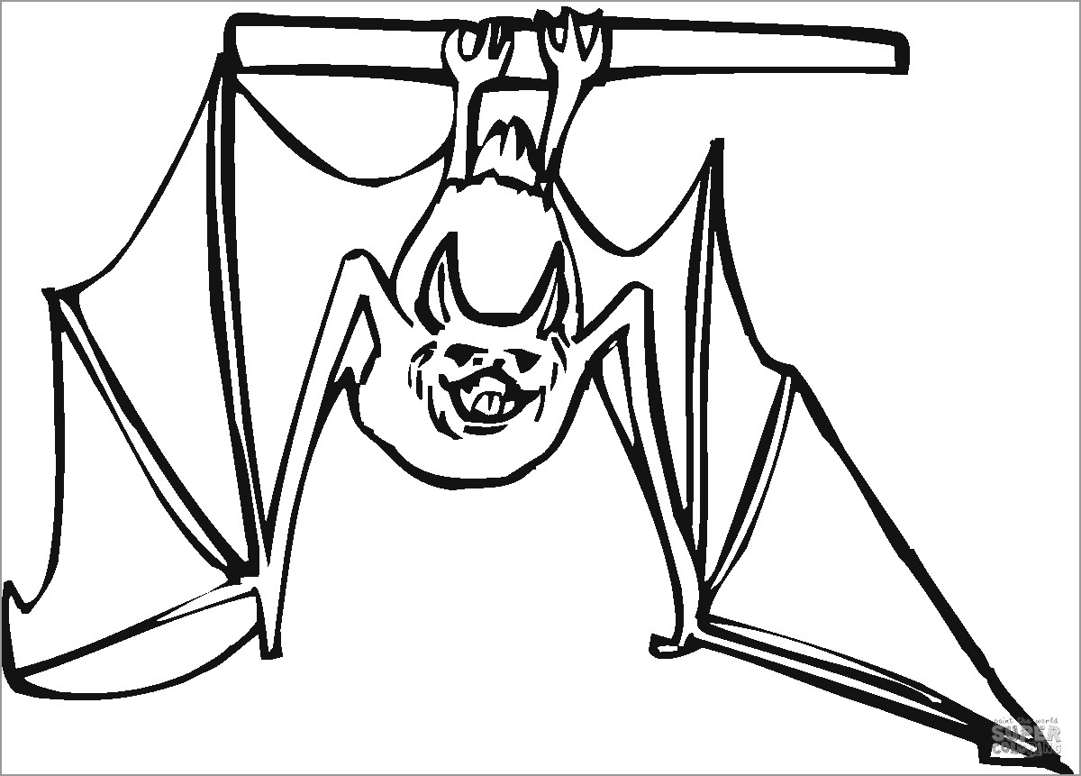 Hanging Upside Down Bat Coloring Page