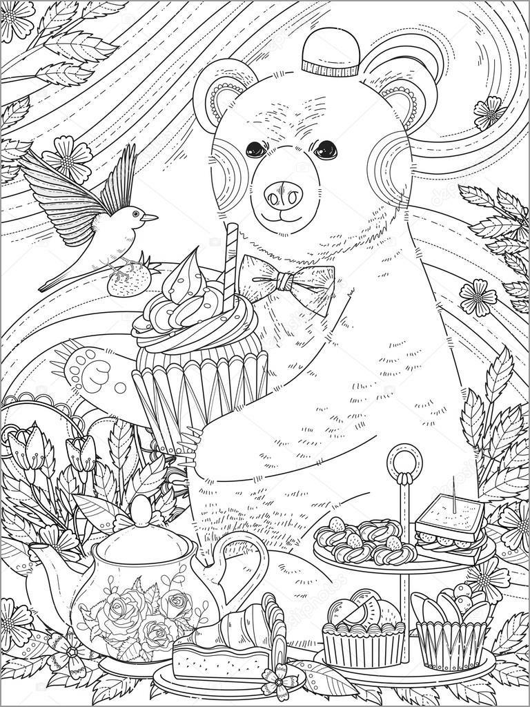 Hard Bear Coloring Page