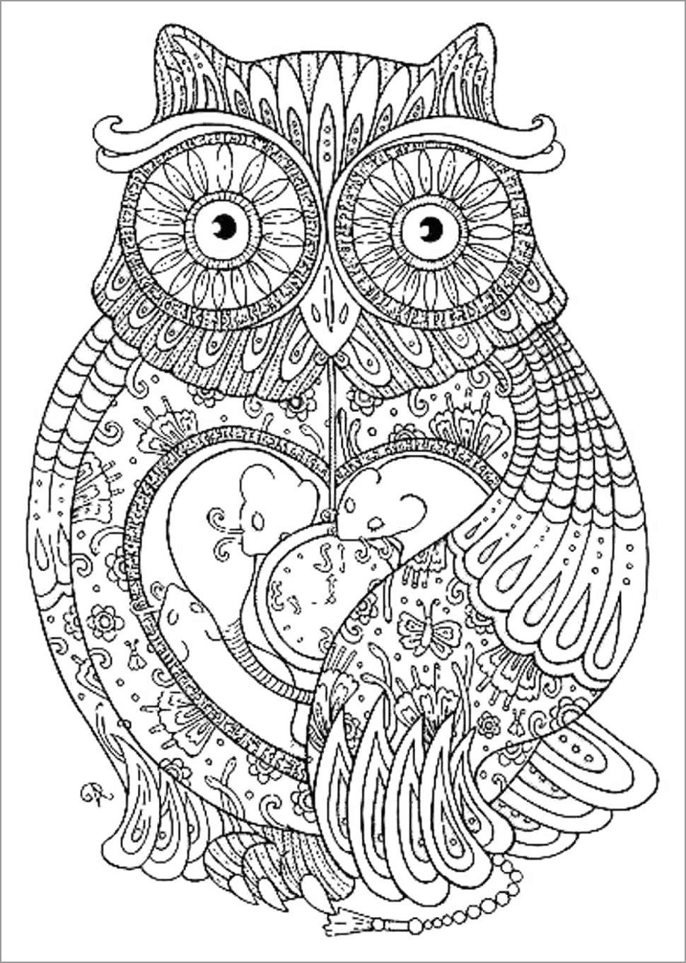 Hard Mandala Owl Coloring Page