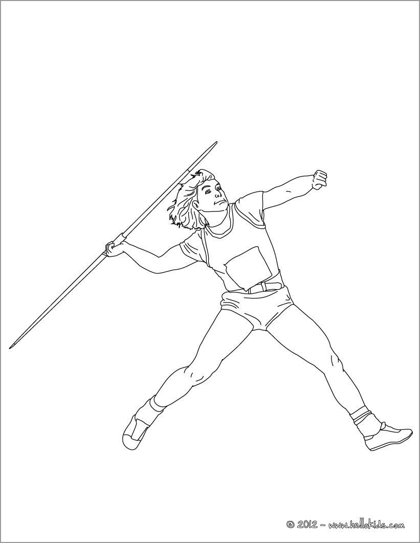 Javelin Throw athletics Coloring Page
