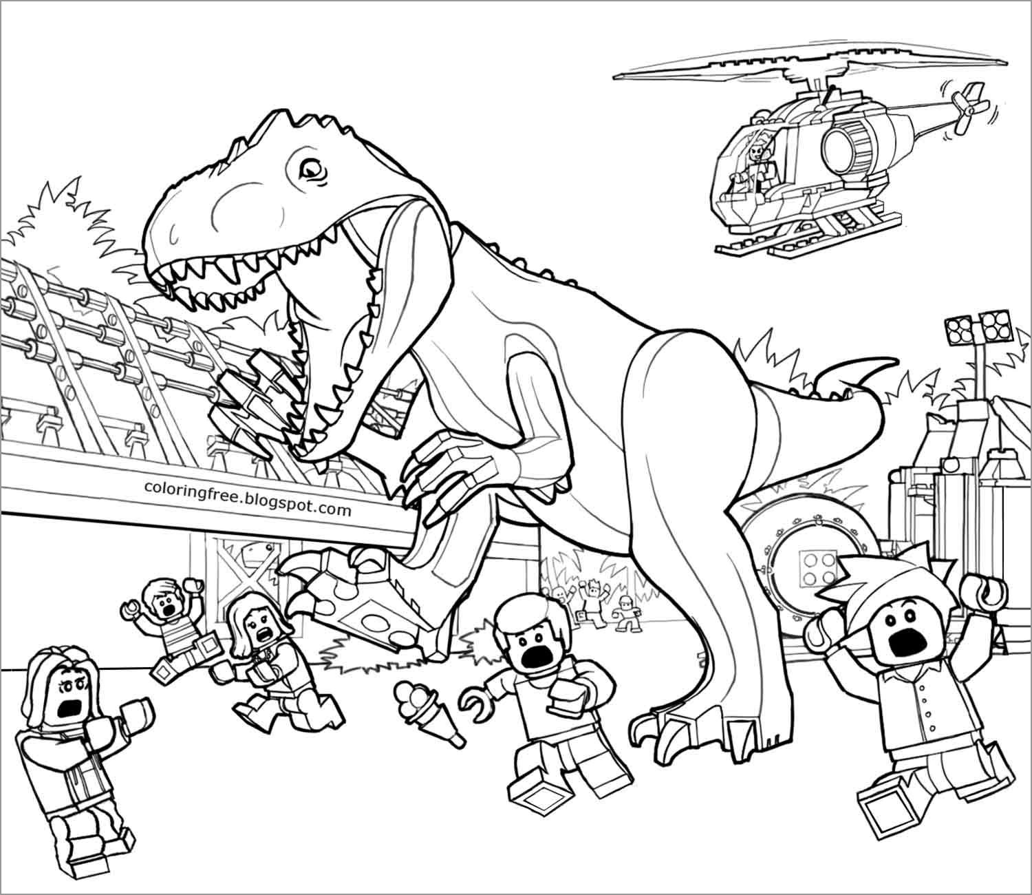 Jurassic World Lego Dinosaurs Coloring Page